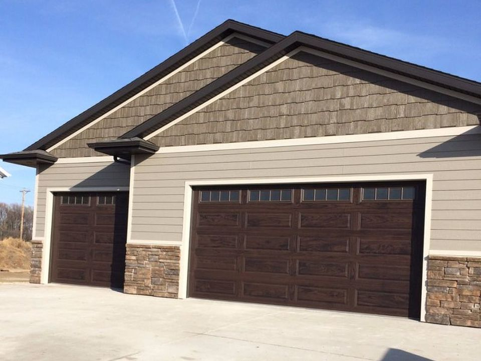 New Walnut Colored Garage Doors